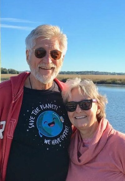 Arnie and Maggie Gundersen celebrating Arnie's 70th Birthday at Folly Beach 'Save the Lighthouse' Oyster Fest.