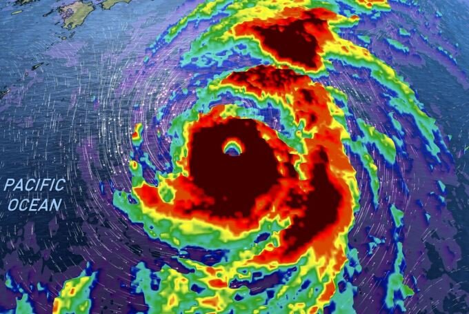 Radar showing Super Typhoon Hagibis in the Pacific Ocean. Photo Credit:  The Weather Network