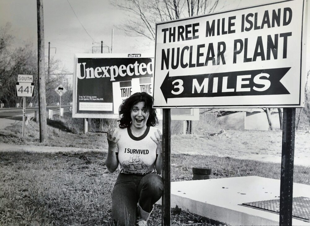 Nuclear Hotsea t Host Libbe HaLevy was one mile from the nuclear accident when it happened In this picture taken 10 days after the accident began she attempts to inject some humor into a decidedly unfunny situation That scream looks like a joke but it wasnt