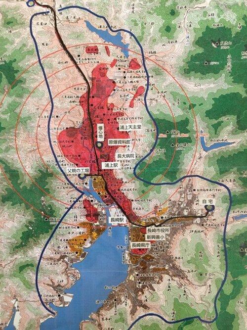 Map of Nagasaki after 1945 atomic bombing