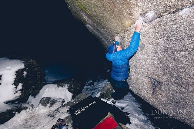 @sebs_gone_bust projecting 'Tsunami' (V10) at #bonehillrocks last night. Managed to work all the moves into 'the wave' linkup in 1 session. Good work!  #notteabag #bouldering
