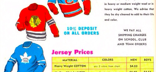 1965 Hockey jersey prices