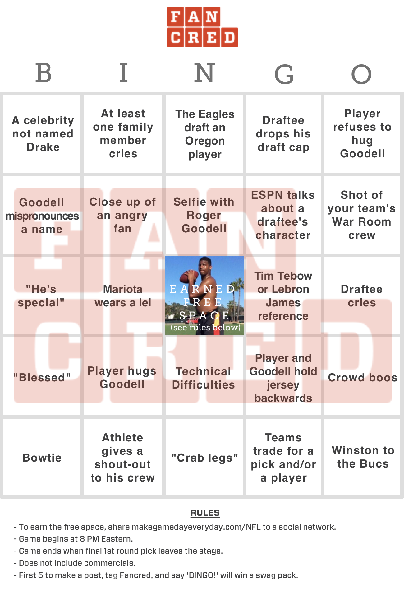 Draft Day Bingo