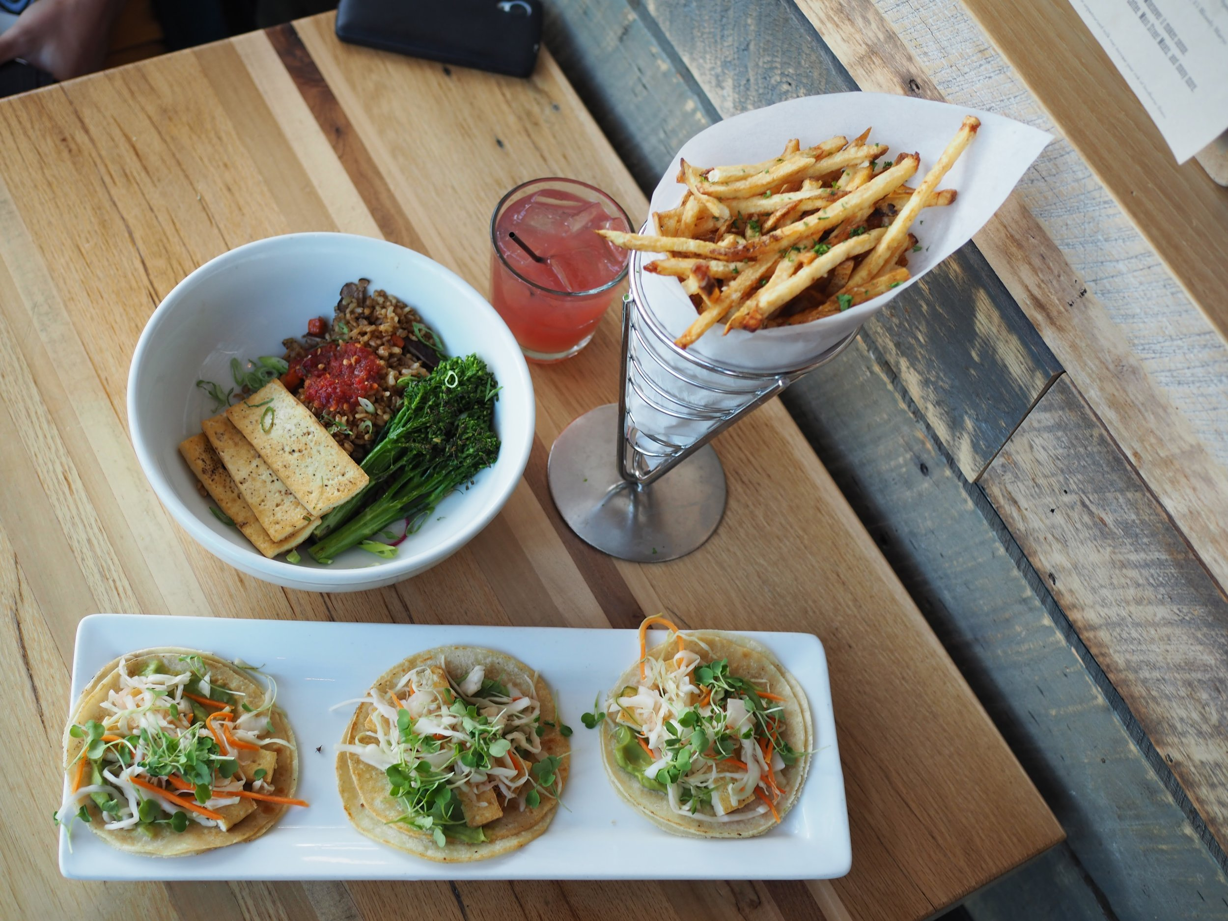 Tofu tacos, Fries, and Fried Rice at The Flying Squirrel