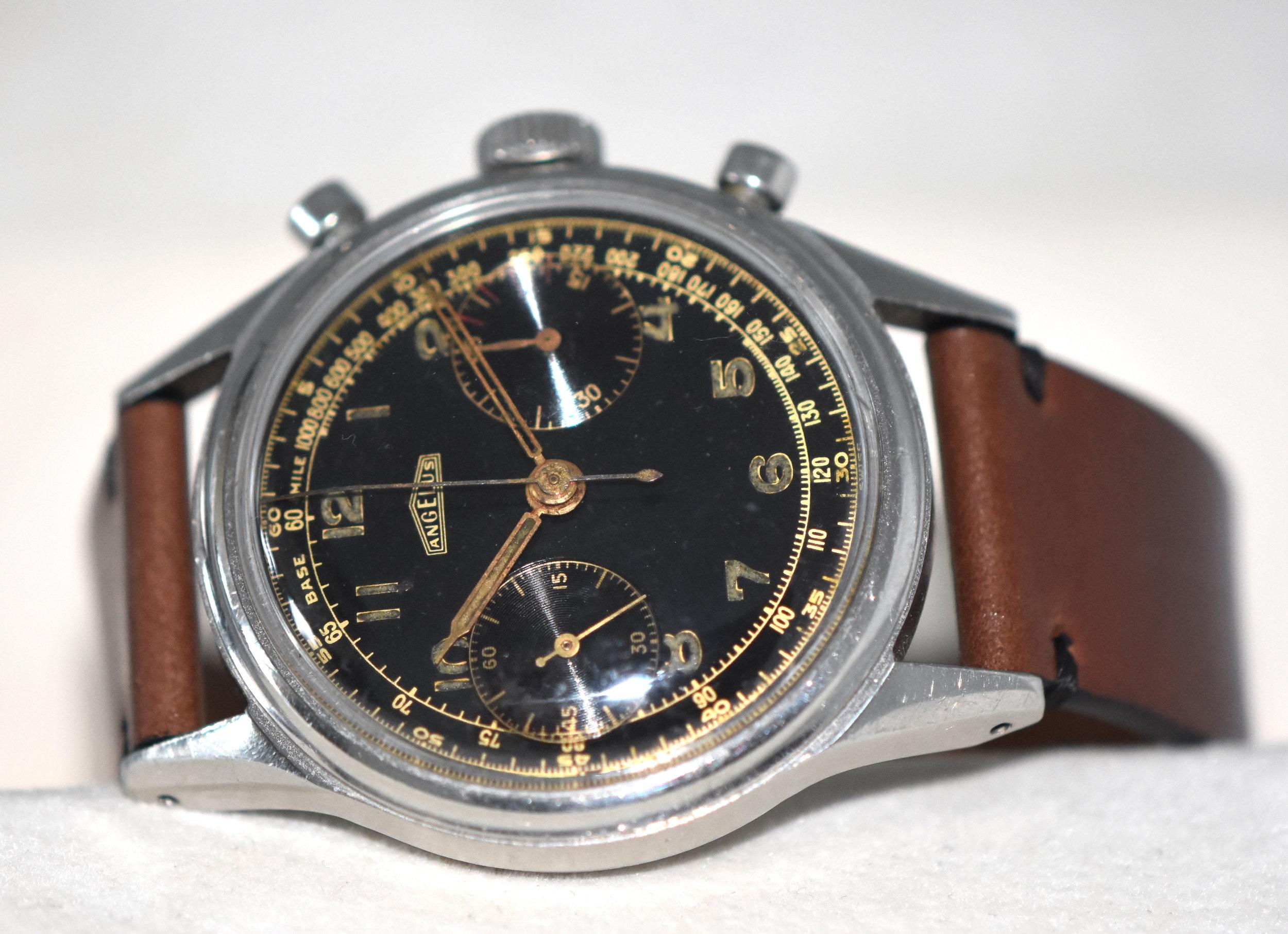 Angelus Chronograph 215 Steel 1950's   SOLD
