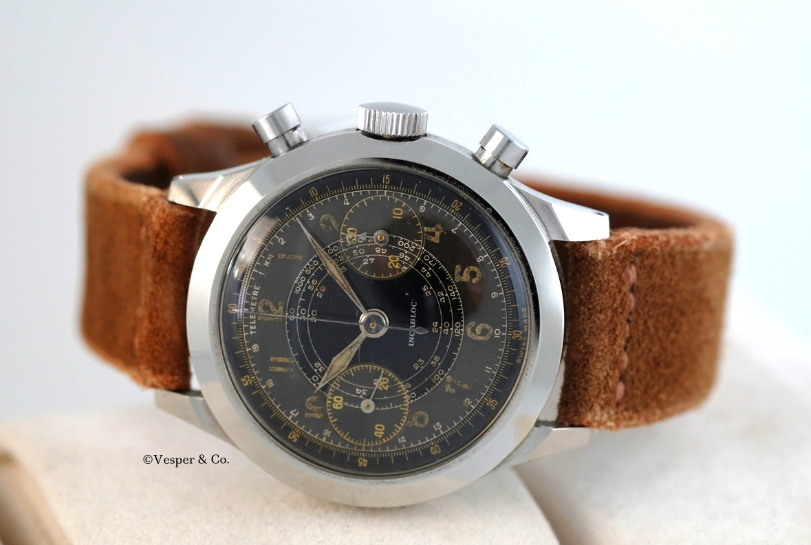 Lemania unsigned Chronograph Telemeter Scale   SOLD