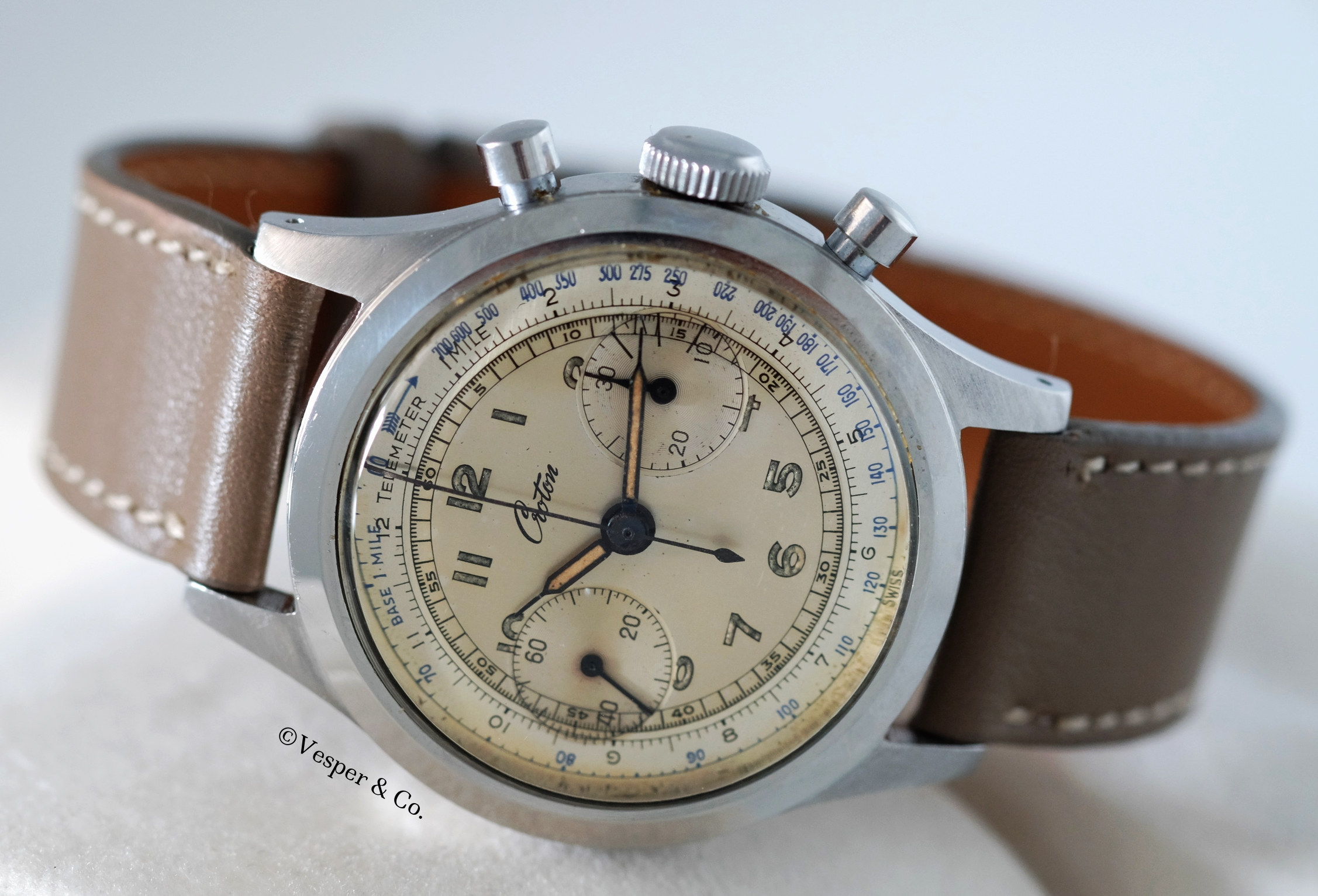 Croton Clamshell Chronograph   SOLD