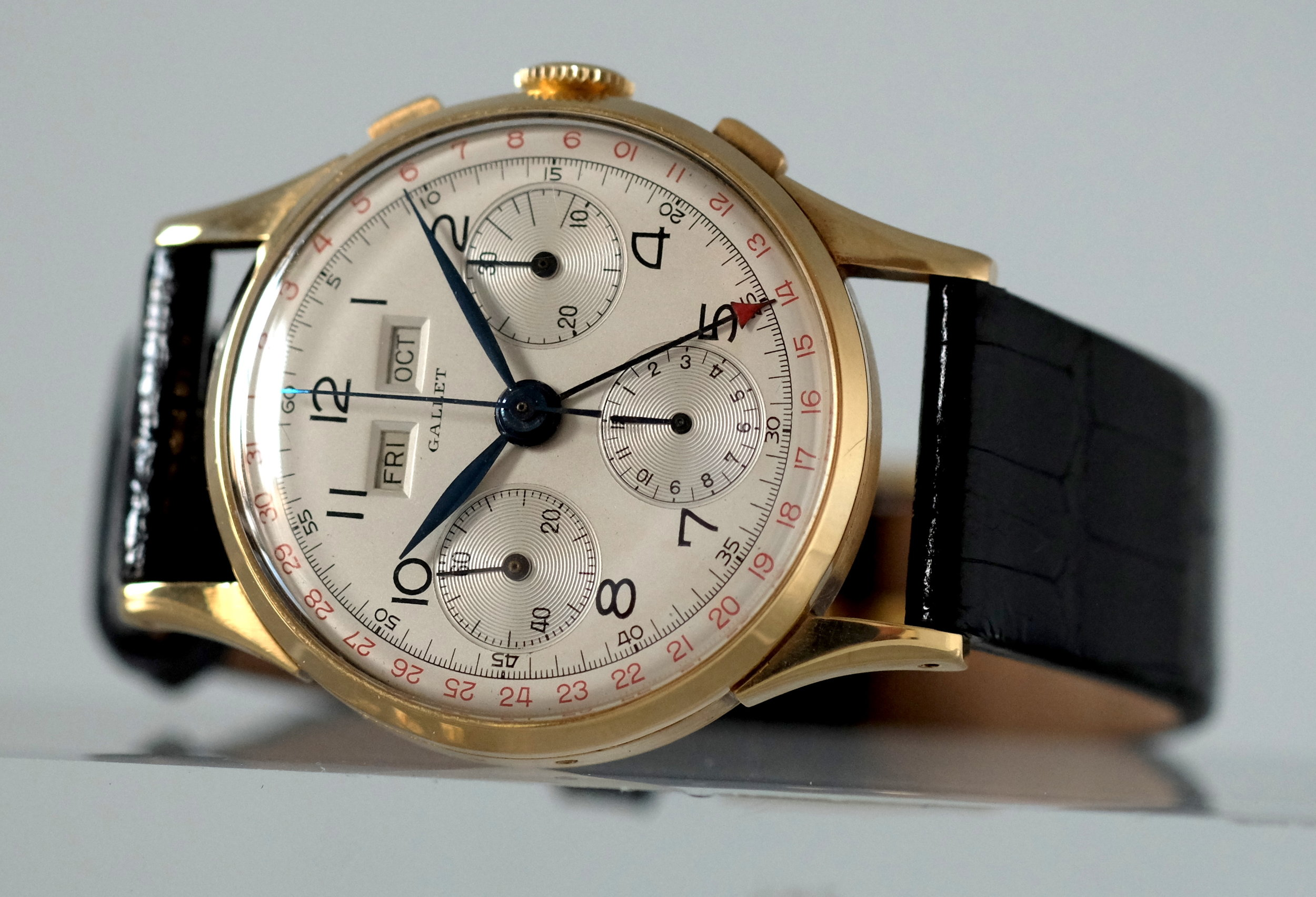 Gallet Triple-Date Chronograph Yellow Gold — Vesper & Co