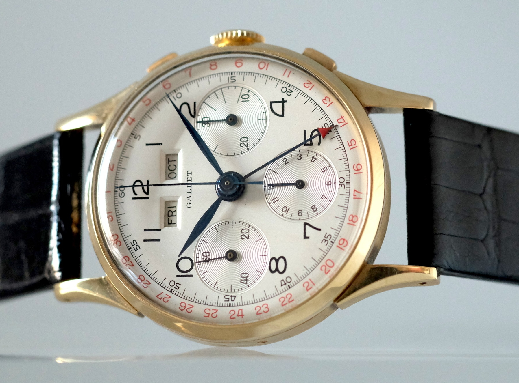 Gallet Triple date Chronograph Yellow Gold   SOLD