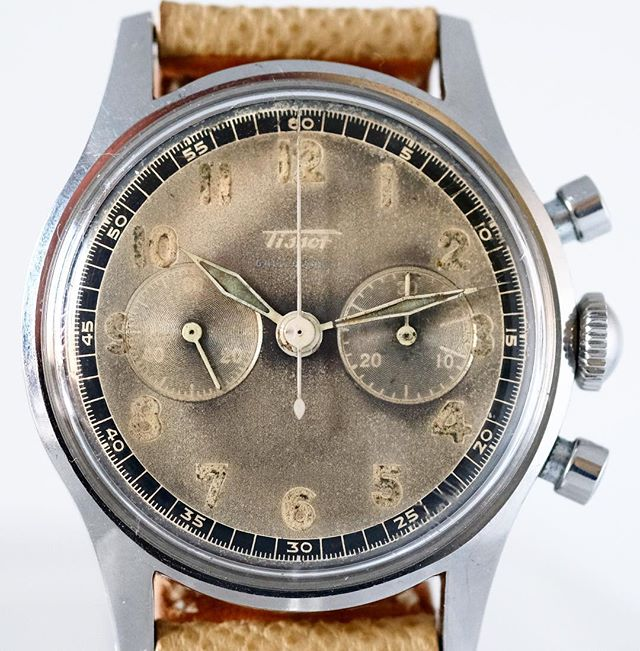 Tissot chronograph with Radium numeral circa 1950's waterproof case and made for Galli Uhren in Zürich. #tropicaldial #patinadial #patina