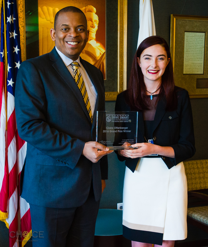 Mr. Anthony R. Foxx, United States Secretary of Transportation with Claire Offenberger, 2016 Grand Prize Winner of Drive Smart: Teen Digital Short Contest, April 14, 2016, United States Department of Transportation, Washington, D.C (Rodney Choice/Choice Photography/www.choicephotography.com)