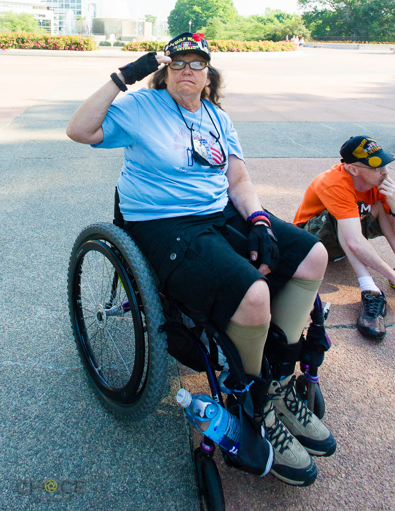 """United States Army Veteran Wendy Clouser, 59, of Big Bear California at America's Vets Helping Vets For Life """"March 4 Veterans Rights."""" Rally. She served in Desert Storm and suffered a spinal cord injury in Kuwait in 1991 while in a explosive roller. May 28, 2016 Washington, D.C.(Rodney Choice/Choice Photography/www.choicephotography.com)"""