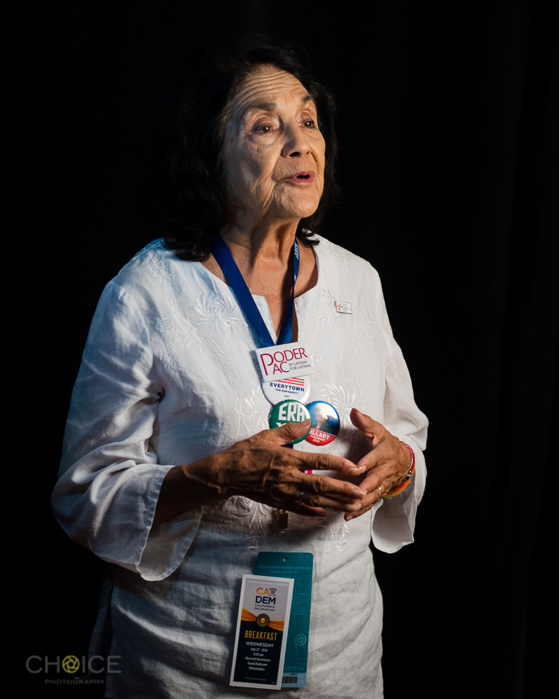 Dolores Huerta at 2016 Democratic National Convention, July 27, 2016, Philadelphia, Pennsylvania (Rodney Choice/Choice Photography/www.choicephotography.com)