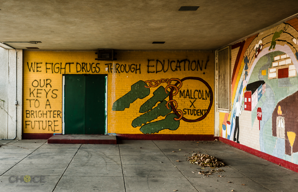 Malcolm X Elementary School, abandoned and strewn with graffiti, 13th and Alabama Avenue, SE, Washington, D.C. November 10, 2016 (Rodney Choice/Choice Photography/www.choicephotography.com)