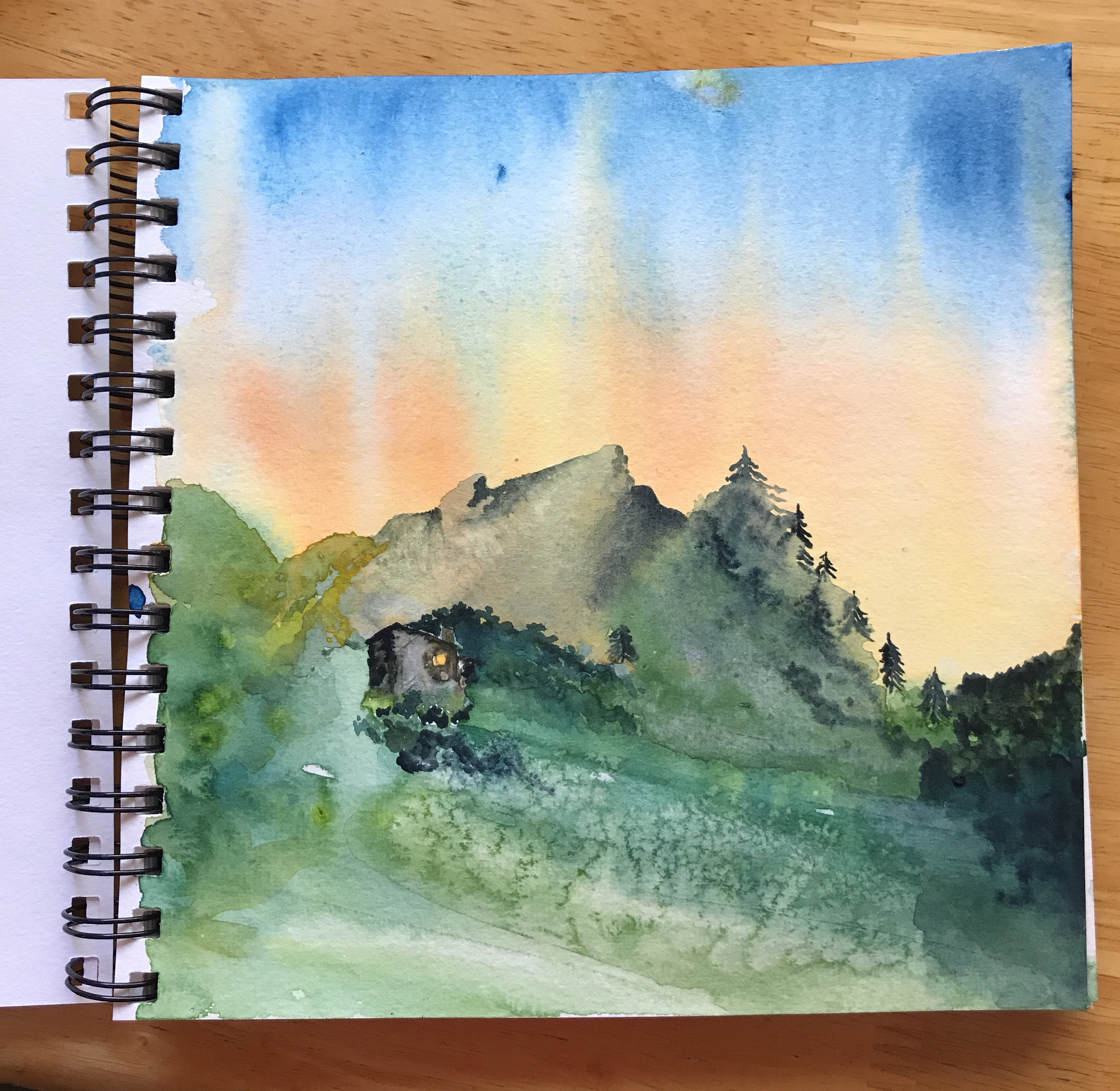 This is the mountain cabin where the Greeting Card People have their annual writing retreat. Yes, I painted it myself. No, I've never been there.