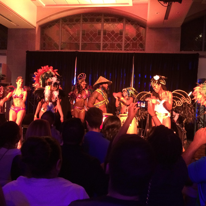 Carnival models dancing to Soca