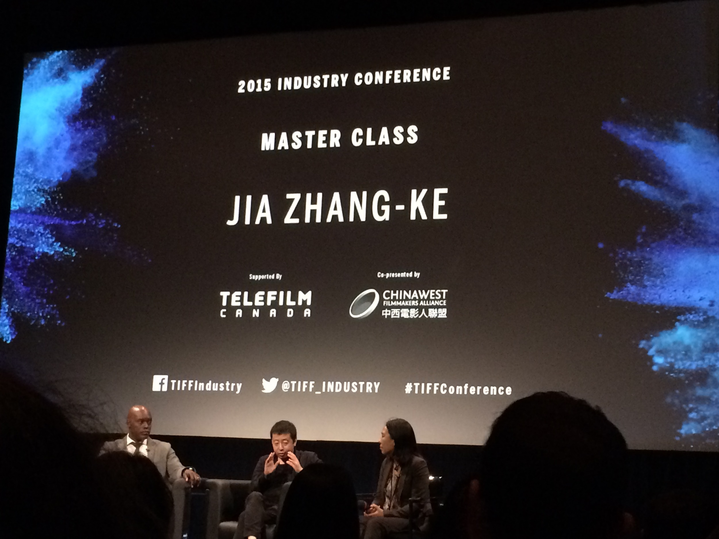 Jia Jhang-Ke and Cameron Bailey at TIFF 2015, Glenn Gould Studio, CBC, Toronto.