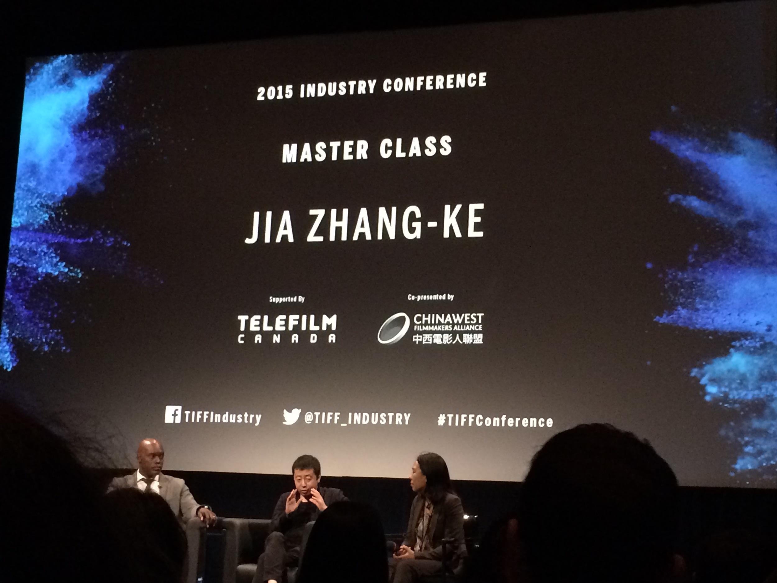 Jia Jhang-Ke and Cameron Bailey at TIFF 2015, Glenn Gould Studio, CBC, Toronto.