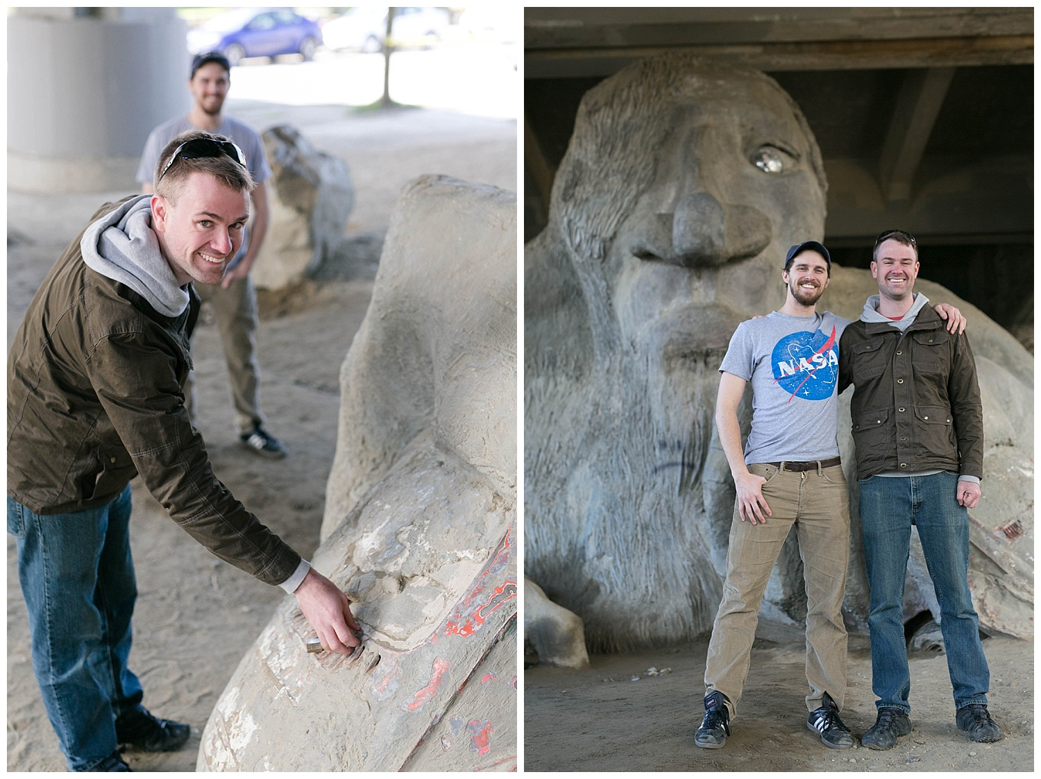 The Fremont Troll is located under a bridge that was becoming a dumping group for trash and a gathering place for illegal activity. Now after the trolls arrival, this area is filled with visitors coming the check out the troll, poke his hubcap eye, or get up close and personal with the real  VW bug clasped firmly in his hand. Nick got a little too curious...
