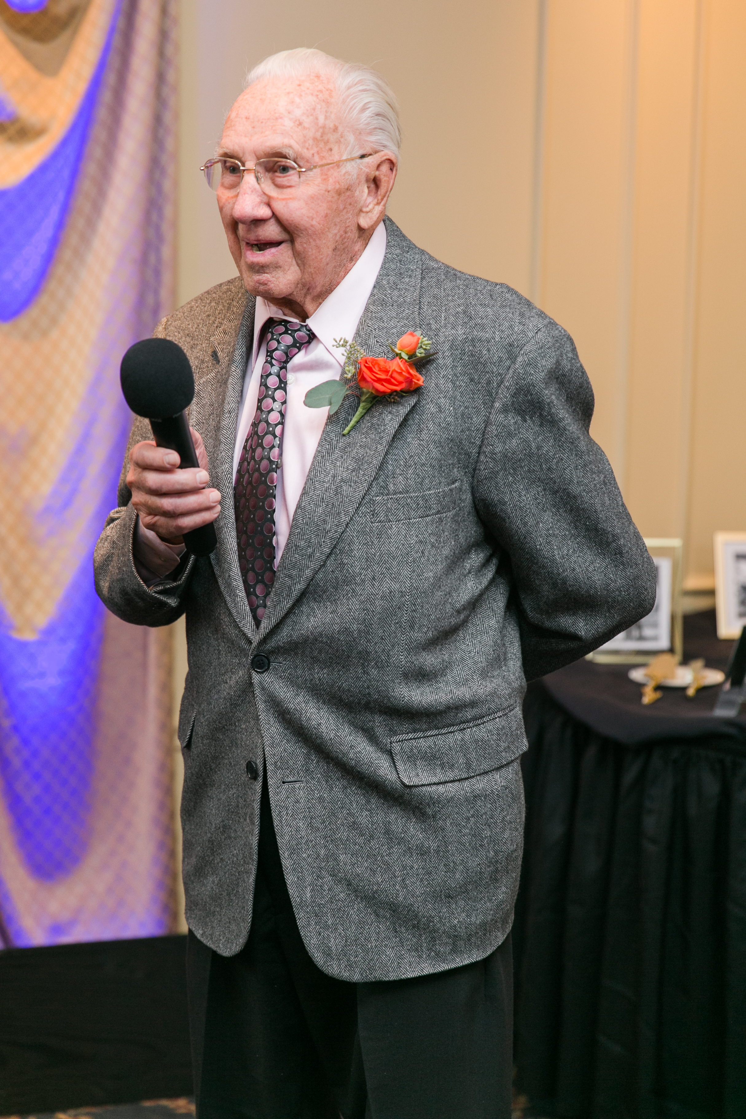 """This gentleman delivered one of the best speeches I have heard at a wedding! He had the entire room laughing. At one point during the night, Nick looked at me and said, """"Grandpa is kinda badass!"""" That is the TRUTH! He is awesome."""