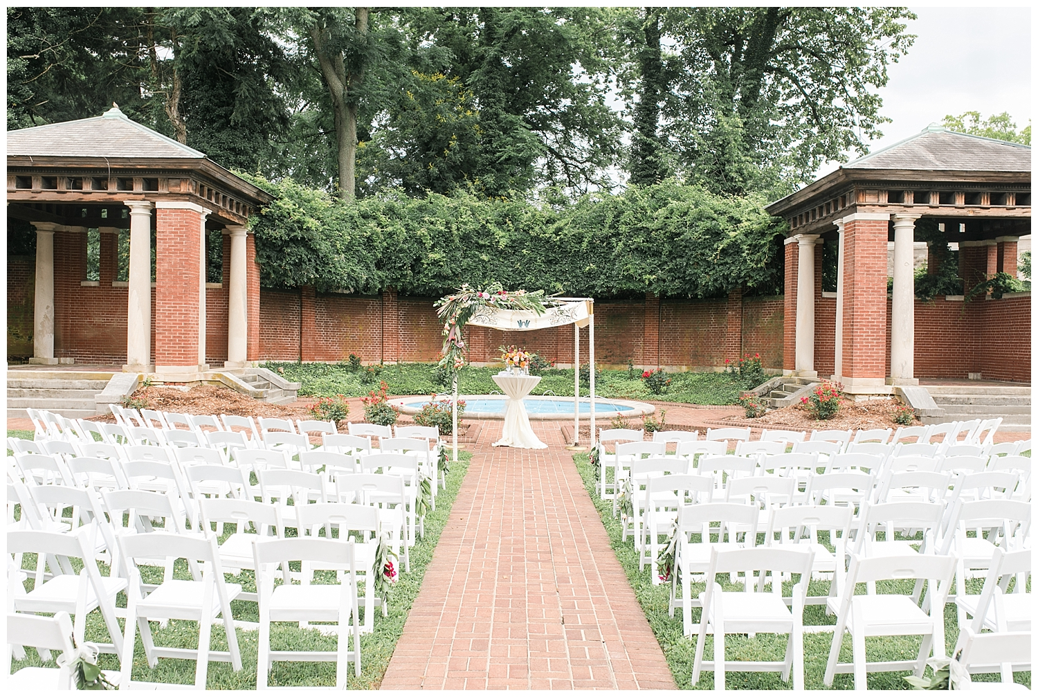 The bride and groom in a Jewish ceremony typically recite their vows under the chuppah. The chuppah typically consists of four corners and roof to symbolize the home they are building together.