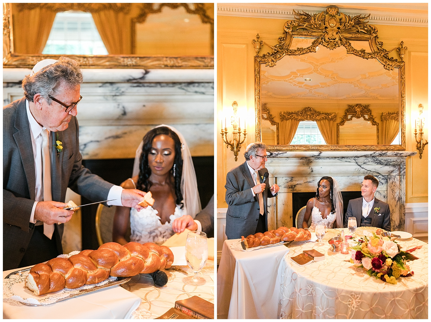 the father of the groom performed the blessing of the challah.