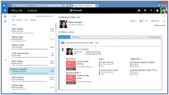Track incoming email with the Dynamics CRM App for Outlook
