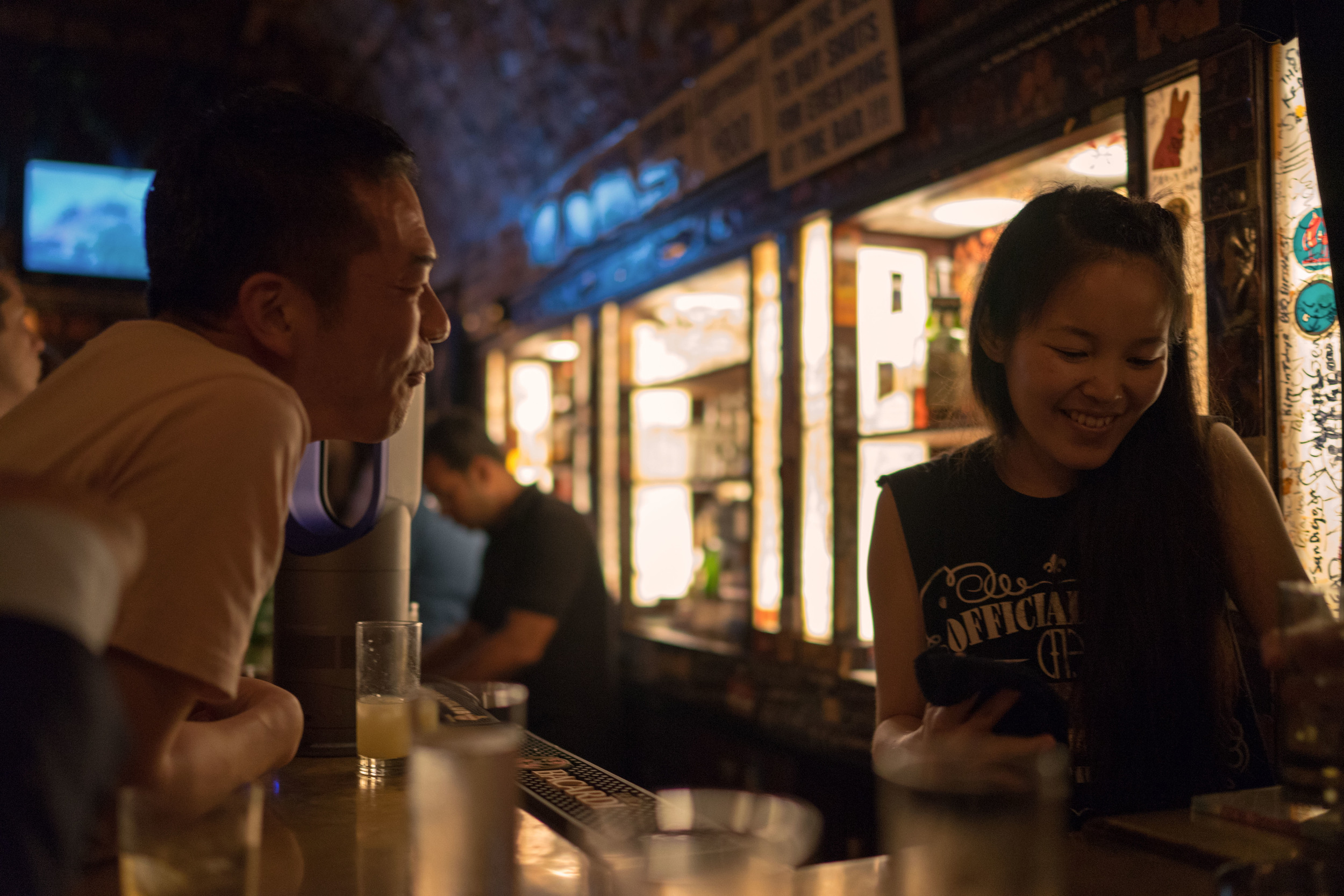 This is the great Mistral Bleu Bar in Tokyo. The Zeiss was very nice here wide open at f/1.4, with a 1/80th shutter and 1250 ISO.