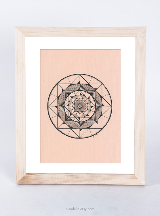 A4 mandala in pigment ink on acid free Fabriano Tiziano  160g artist paper    in Dusty Pink