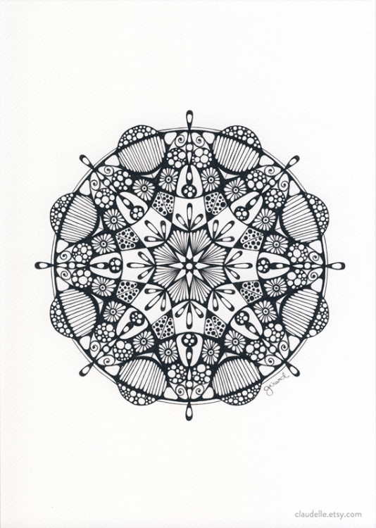 A4 mandala in pigment ink on white acid free Fabriano Tiziano   160g artist paper