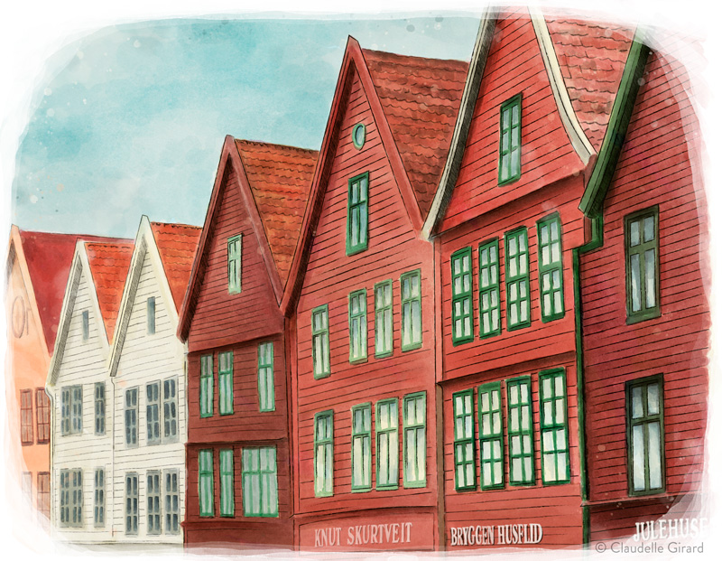 Digital illustration of Bryggen in Bergen