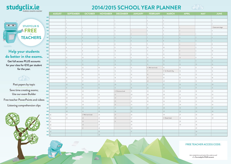 Year planner for teachers' conference rooms
