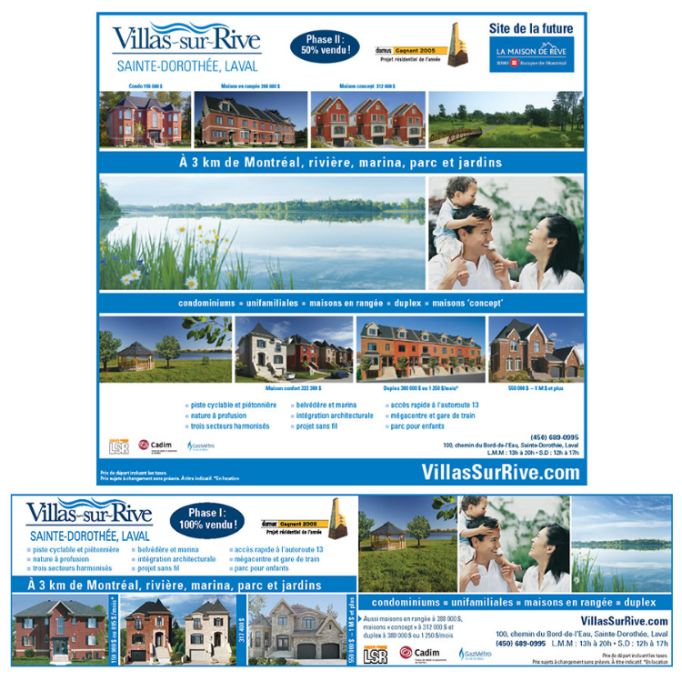 Newspaper ads for Villas-sur-Rive which ran in La Presse newspaper. Quebec, Canada