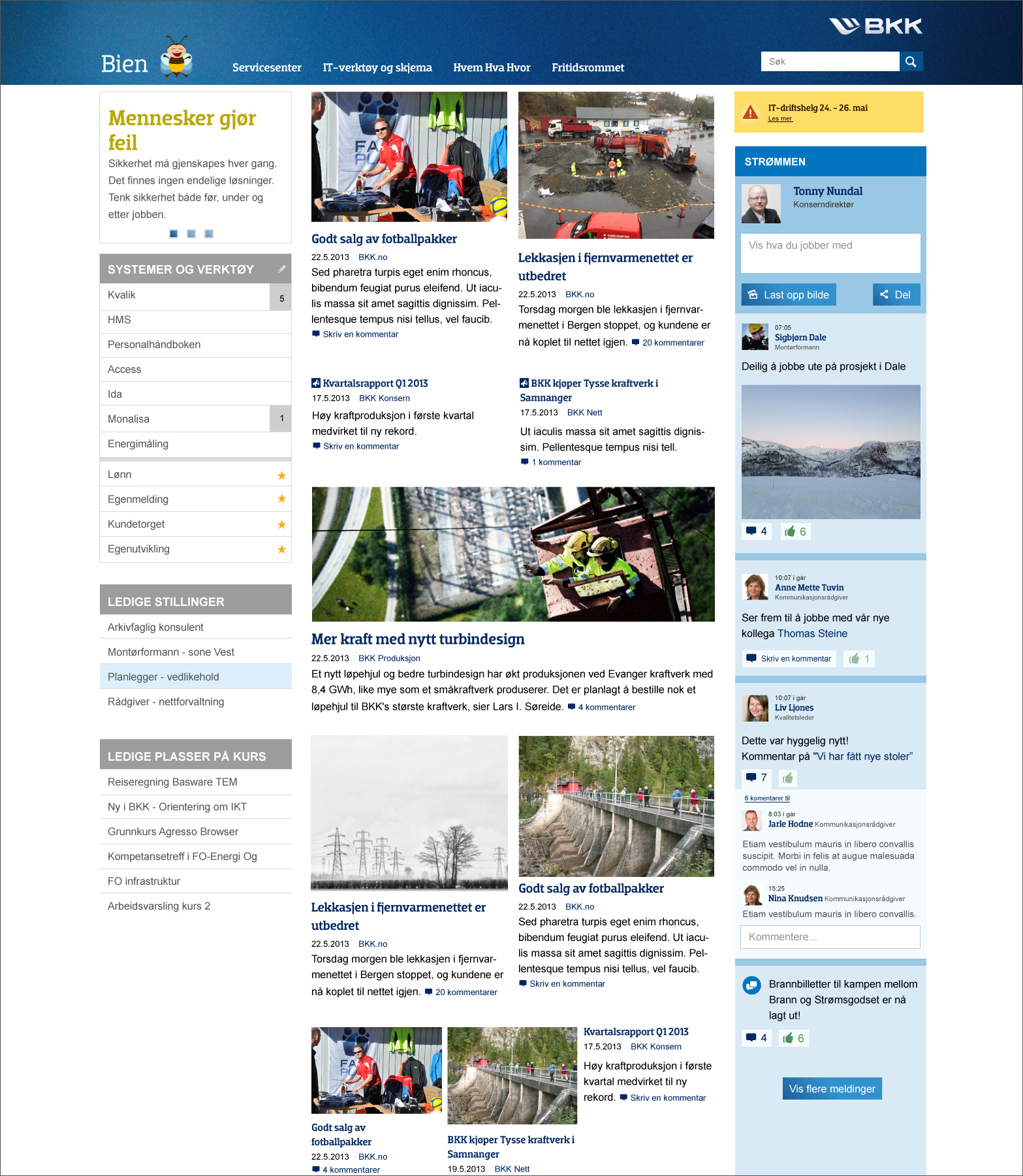 Responsive intranet user interaction and graphic design for BKK
