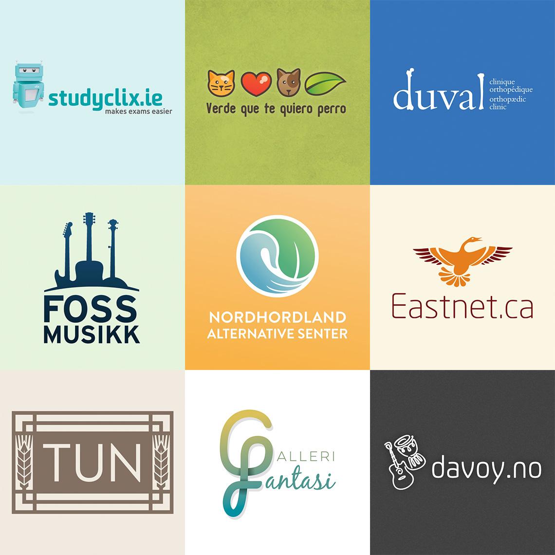 Logos for studyclix.ie, Verde que te quiero perro, Duval orthopaedic clinic, Foss musikk, Nordhordland alternative senter, Eastnet.ca, Tun Øl, Galleri fantasi and davoy.no