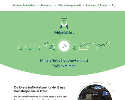 Miljøløftet - Miljøløftet is a state-run effort to provide and promote alternative types of transportation by building the light rail, cycling paths, access to public transport, and more.Project: New website.Role: Visual designer