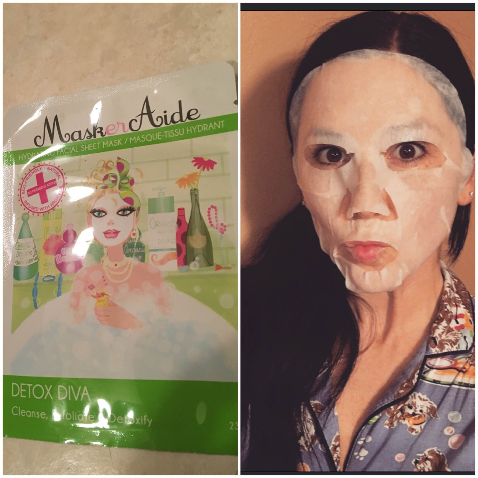 The things we do for beauty! Although this may look a little silly it felt amazing. After about 20minutes of relaxing with my face mask on, my skin felt hydrated, refreshed, and appeared to be glowing!