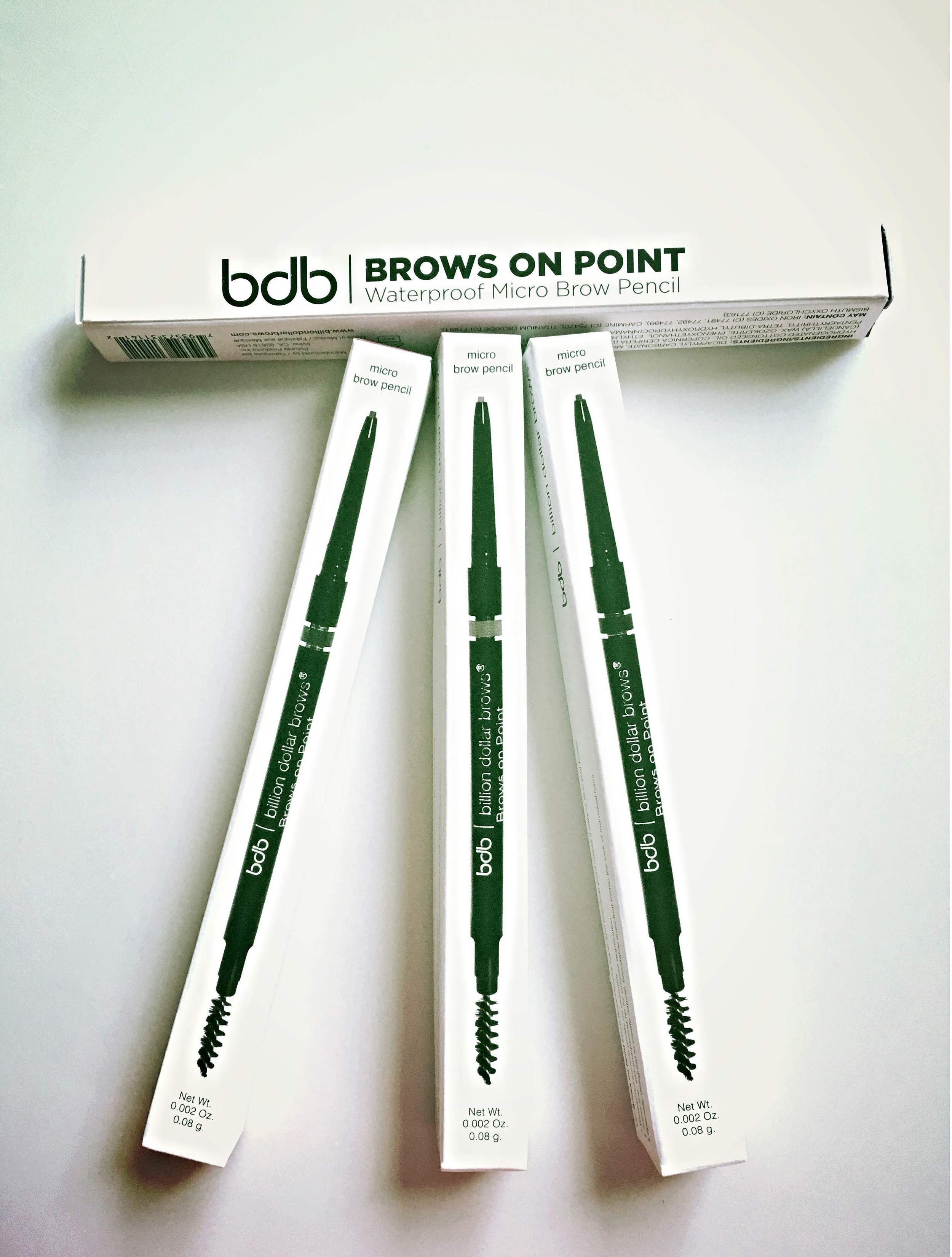 About the Product    New Release!  Be the first influencers to review our brand new line of micro pencils!  The ultra fine tip on this creamy/dreamy, self-sharpening pencil allows you to actually mimic the look of individual brow hairs for natural-looking results.  The waterproof formula goes on like a dream and stays in place at the beach, pool, and gym.  Available in four remarkable shades: Blonde, Light Brown, Taupe, and Raven and colors coordinate perfectly with BDB powders for ultra-customized brows.    Learn About the Brand    Eyebrows are one of the most important features of our faces - and yet they are often the most neglected.  We believe that beautiful brows are a right, not a privilege. Our products are priced fairly so that you don't have to break the bank to have Billion Dollar Brows.   *Shop Online:   http://www.billiondollarbrows.com/
