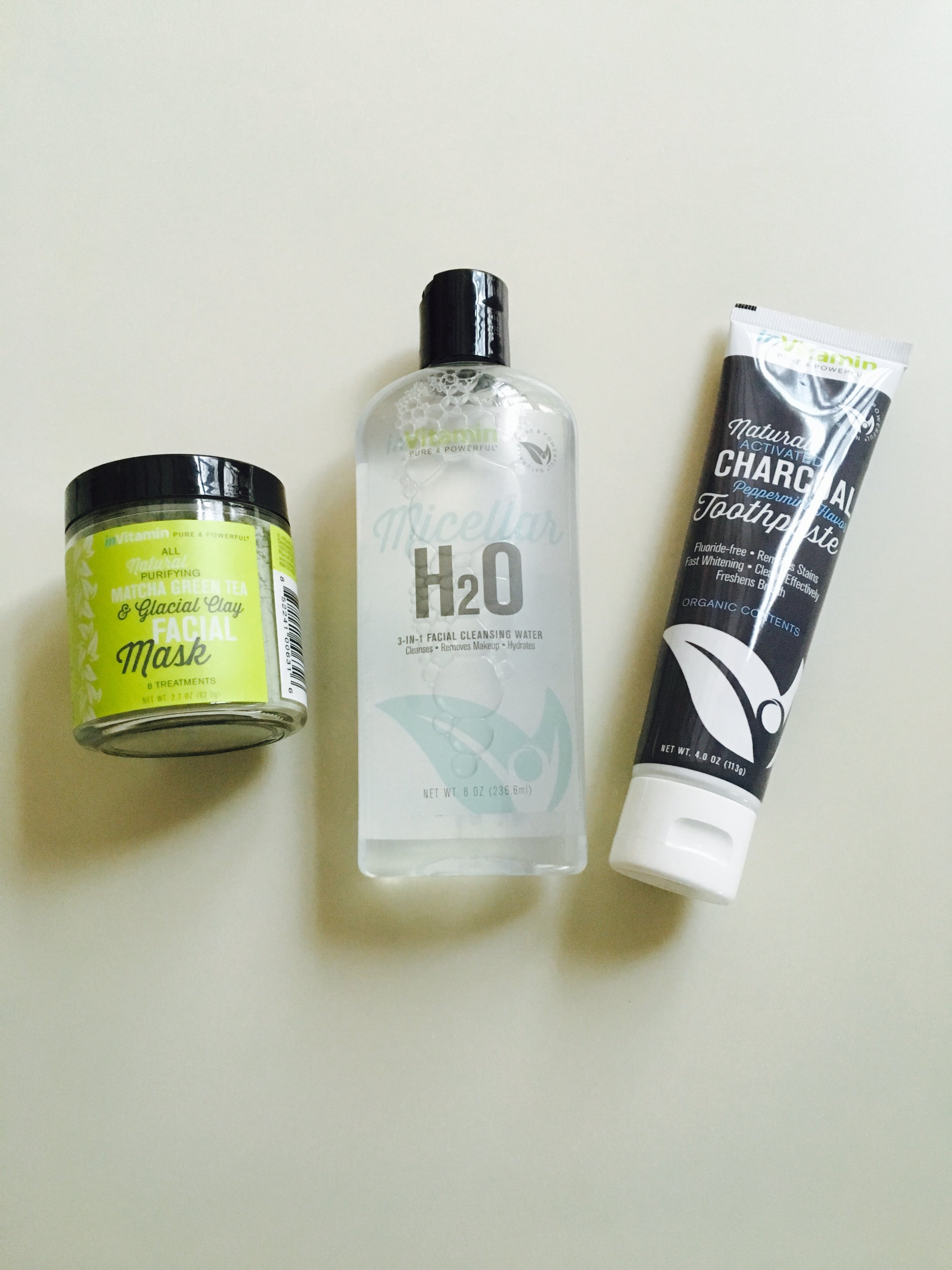 Matcha Green Tea Mask,     Cleansing Micellar Water,     Activated Charcoal Toothpaste