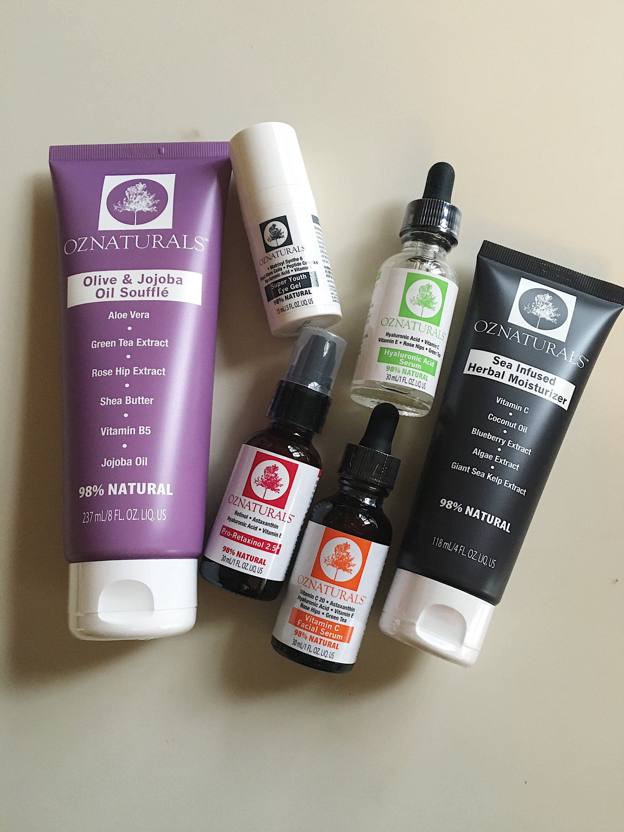 These are a few of my favorite things!   OZNaturals   has been my absolute favorite VEGAN skincare line for the past 3 years and I am always quick to recommend it to my clients, friends, and peers.  As a vegan myself for the past 15 years I always appreciate and love when brands cater and care so much as to make a product line animal friendly!  I have yet to try a product I didn't like which I feel is pretty rare when it comes to skincare. Check out their full line of products (which are always affordable I might add!) and get some for yourself! A skincare line that is vegan and cruelty-free just like my lifestyle is a beauty match made in heaven :)   Pictured from Left:    Olive & Jojoba Oil Souffle  ,   Super Youth Eye Gel  ,   Hyaluronic Acid Serum  ,   Sea Infused Herbal Moisturizer  ,   Vitamin C Facial Serum  , and   Pro-Retinol  ,