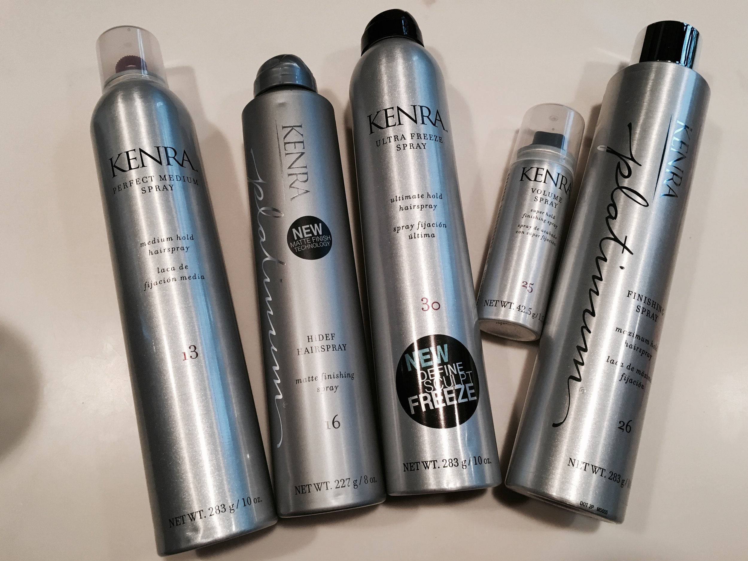 """I have gone through and tried each of these products with a handful of different hairstyles and I have to say they all serve the purpose they say they do! The scents, the lightweight application, and the amazing hold of these   Kenra Professional   products is amazing and I am so in love with them that I have already recommended them to a bunch of my beauty loving friends!             About the Product      Kenra Perfect Medium Spray 13   Perfect Medium Spray 13 combines styling control with a touchable, brush-through hold. This medium hold spray is fast-drying and finishes with a high shine. - Provides styling control without stiffness - Fast-drying formulation for touchable, moveable, brush-through hold - Finishes with high shine """"It's amazing for working with the style, for a flexible finish, and to help with static and fly aways."""" ~Laken Rose, Director of Education, Kenra Professional     Kenra Platinum HiDEF Hairspray 16   HiDEF Hairspray 16 is a light-defusing finishing spray that holds tousled, undone styles with a matte, flake-free finish. This brushable, humidity resistant hairspray instantly dries on contact, giving any style an airy, windblown finish. The perfect finishing spray for any textured style. - Diffuses light for a long-lasting matte finishing effect - Controls and sets texture, body and fullness - Delivers the most natural looking hold on undone styles - Ultra fine mist instantly dries on contact """"Love to use this hairspray to lock in a beachy wave look after using Kenra Platinum Dry Texture Spray 6 for an undone, matte finish."""" ~Laken Rose, Director of Education, Kenra Professional     Kenra Volume Spray 25   Volume Spray 25 provides the maximum amount of volume and hold possible. It leaves hair looking natural and shiny while imparting the strength and volume necessary to make any style last all day. - Super hold up to 120 hours - 24 hour high humidity resistance - Wind resistant up to 25 MPH - Flake-free - Fast-drying """"Excellent all around h"""