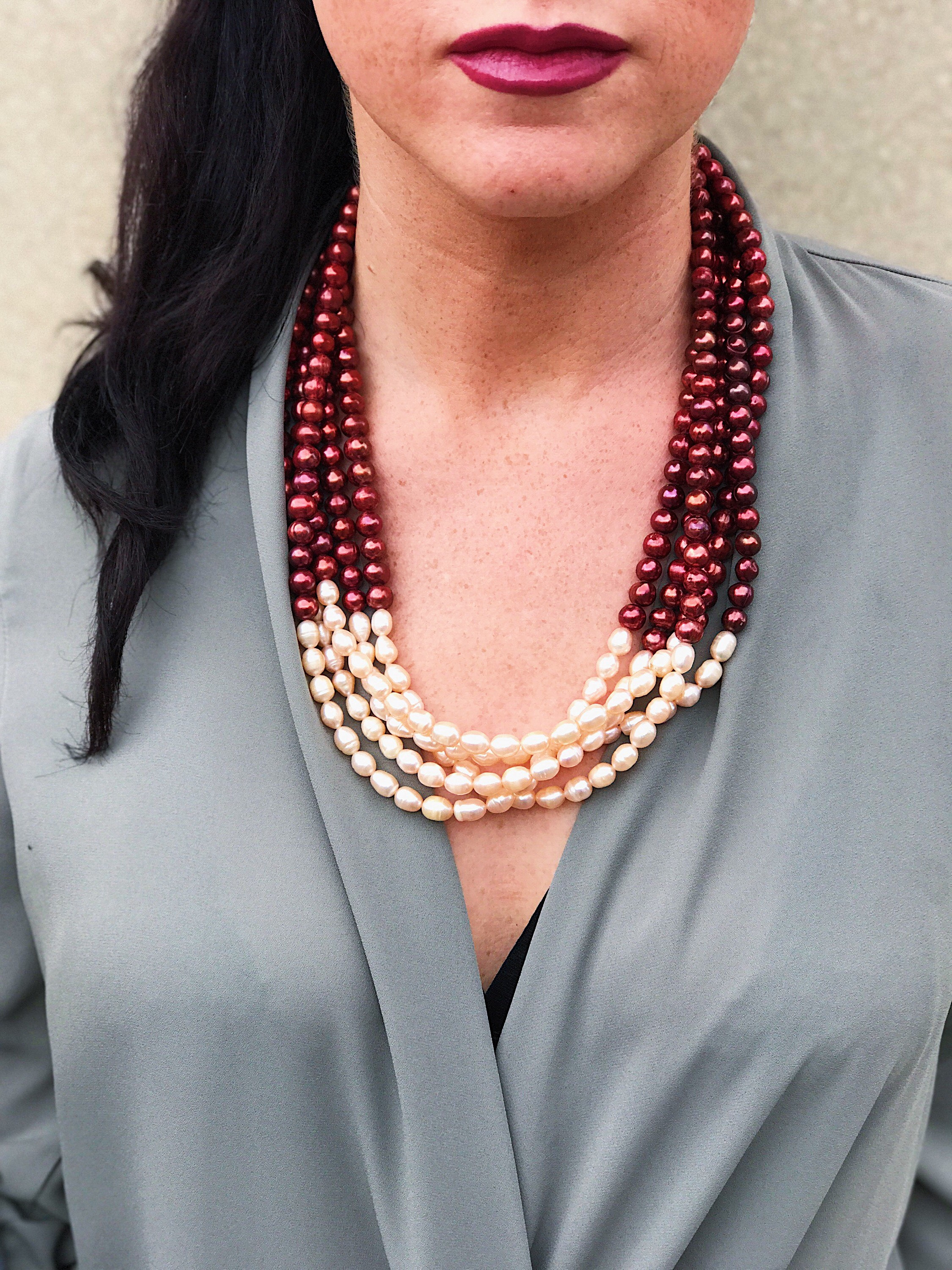 """Ivory and Wine Pearl Necklace"""