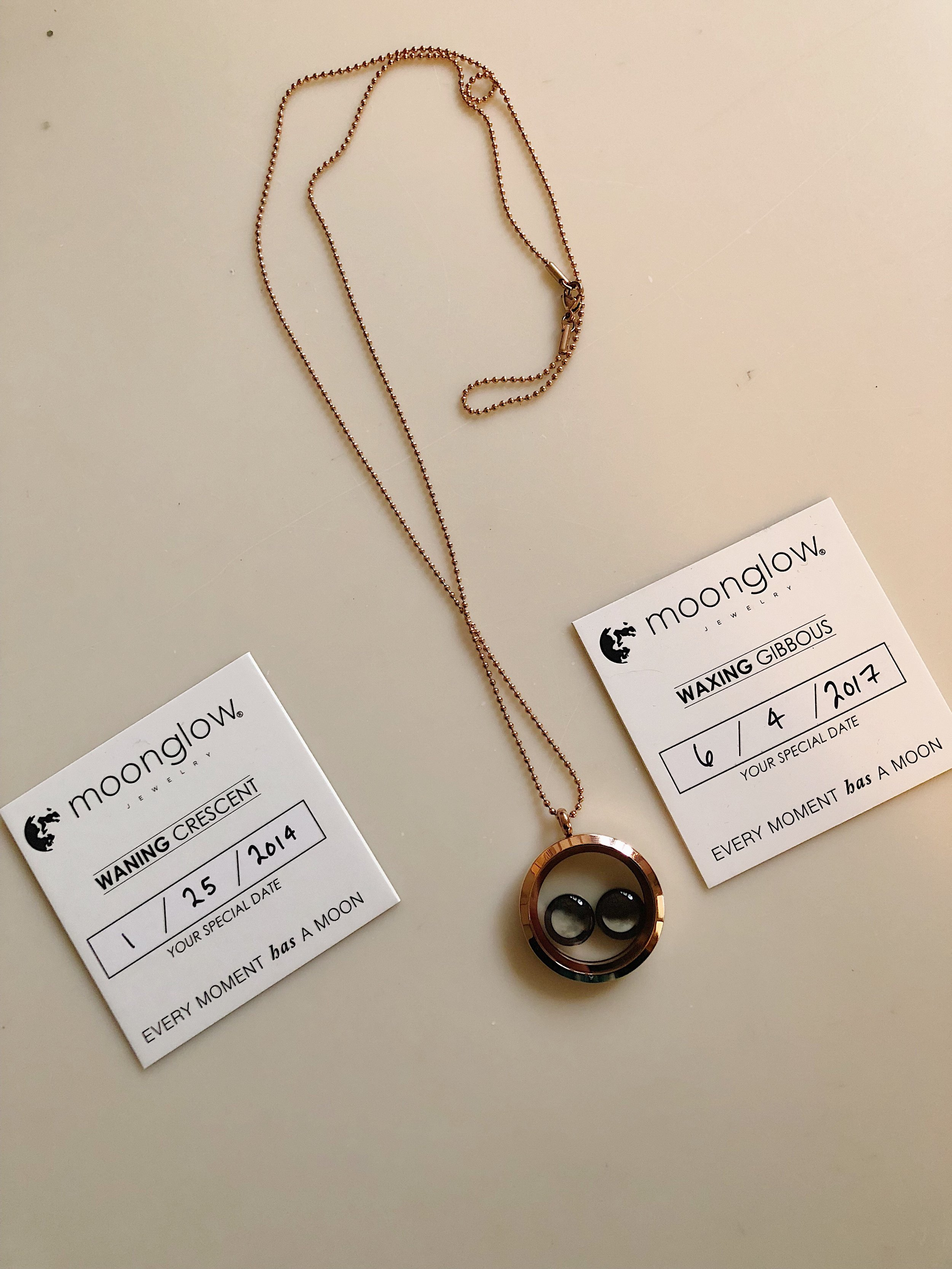 """""""Lovers in The Locket Necklace in Rose Gold""""    with two important dates to me... the day I met my Husband and the day we got married."""