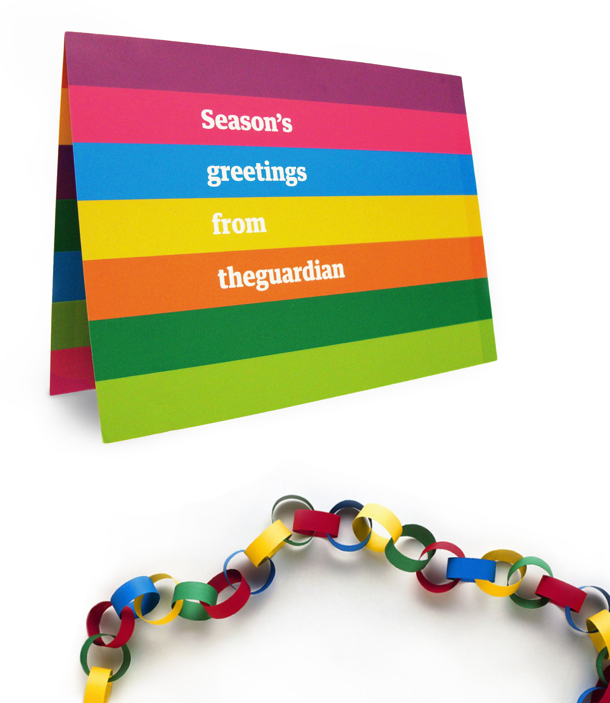Perforated card with glue on one side, becomes a paper chain for your desk.