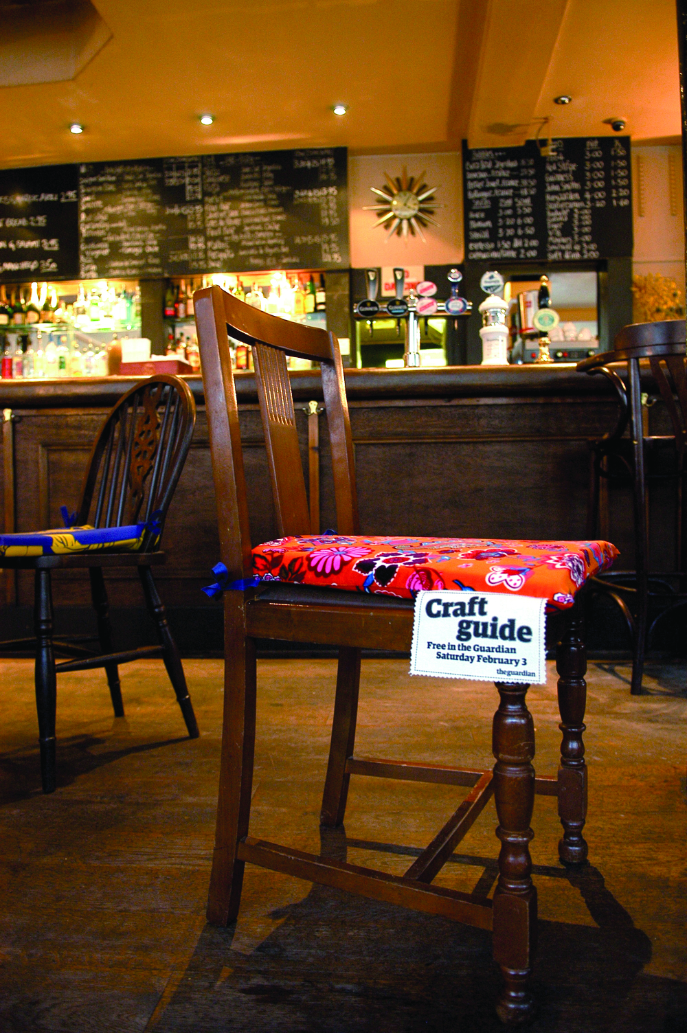 Craft Guide: reupholstered pub seats in Brighton and London.