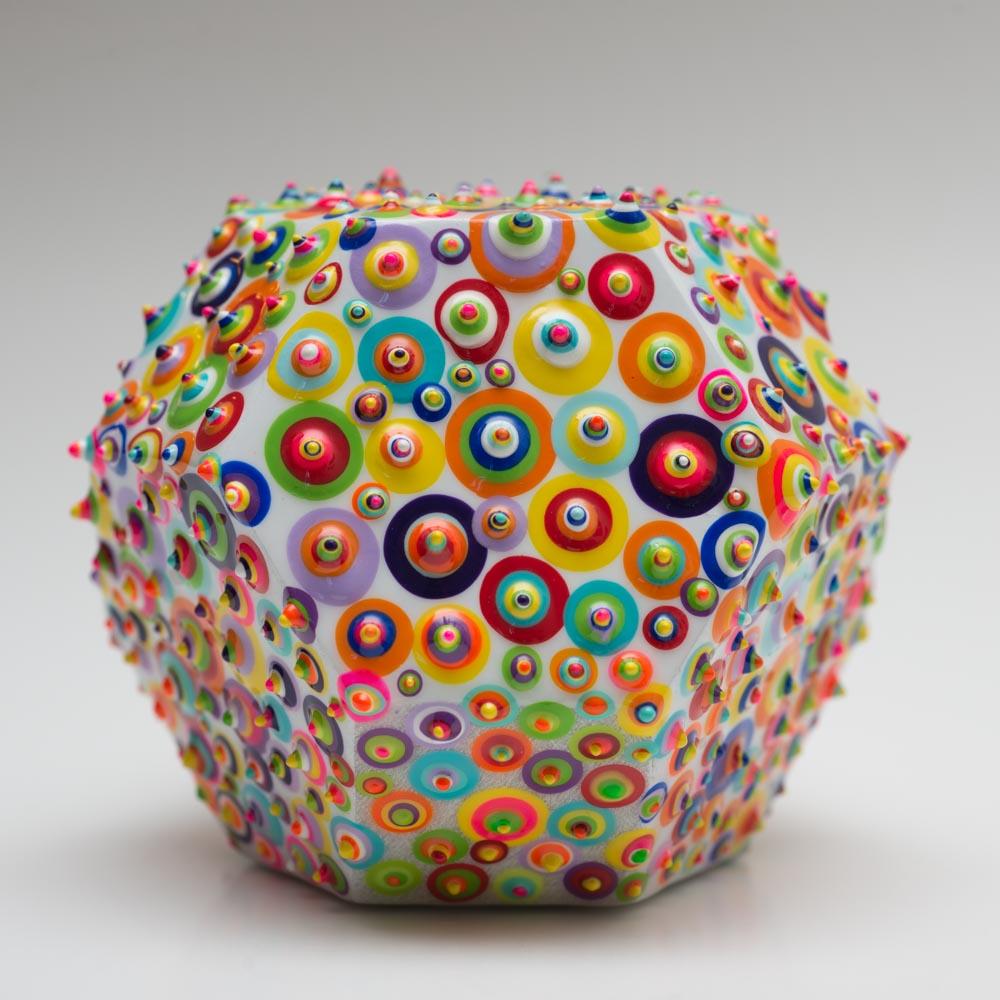 """Bindu Cosmic - SOLD  Acrylic and resin on wood. 4"""". 2016."""