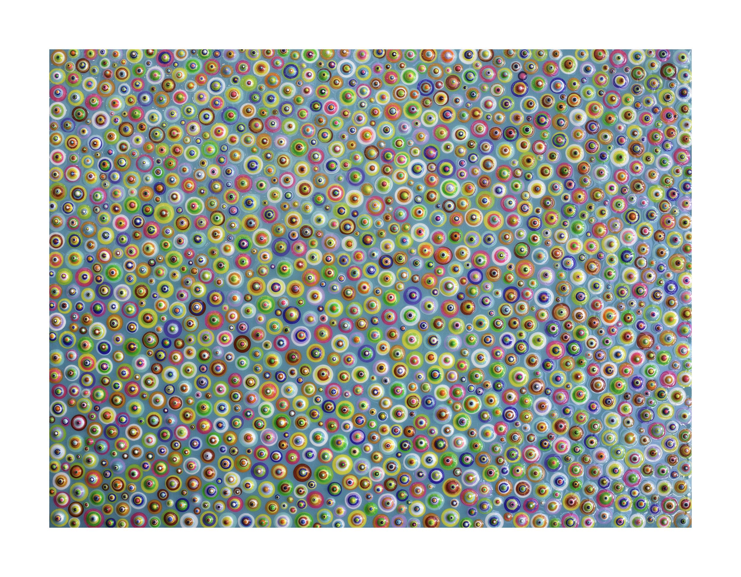 "Bindu Aquarium - SOLD  Acrylic and resin on panel. 12""x16""x2"". 2015"