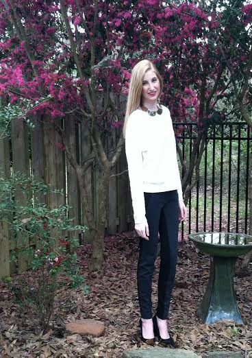 LOFT sweater, F21 necklace, LOFT skinny trouser pants, BCBG black pump