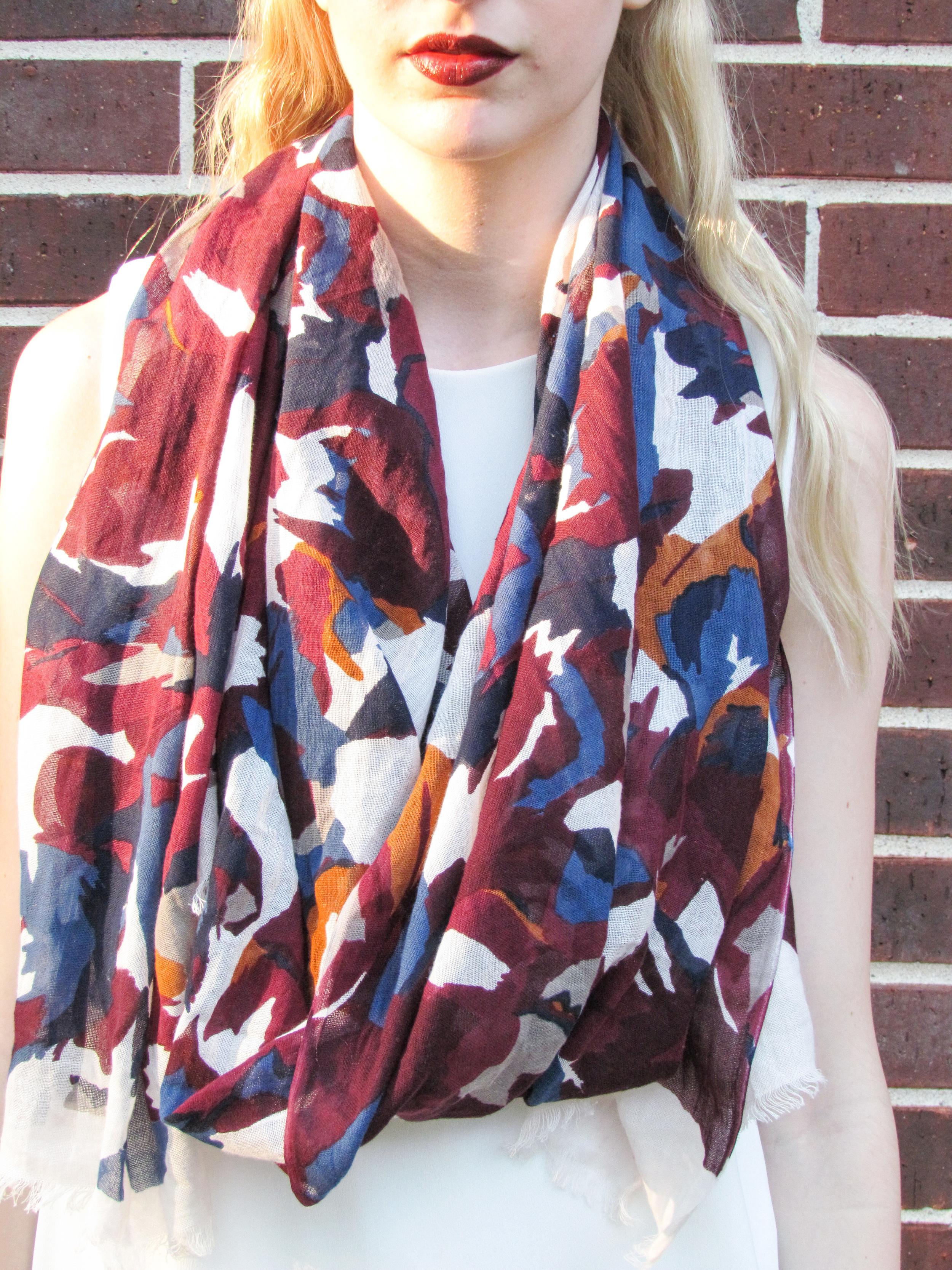 Zara white shift dress, loft watercolor floral scarf, clinique cola pop lipstick, loft pointed toe d'orsay flats