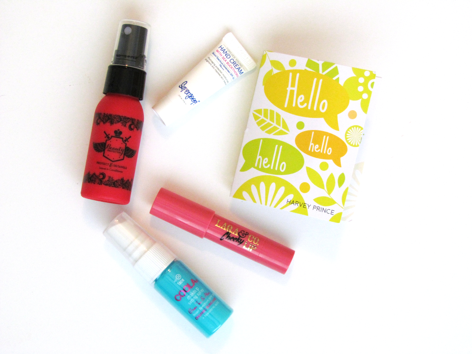 August Birchbox, Beauty Protector Protect and Detangle leave-in conditioner, heat protectant, and shine finishing spray, COOLA organic makeup setting spray, Harvey Prince Hello perfume, LAQA & Co. Charm school kit cheek and lip balm, Supergoop! Forever young hand cream - Southern New Yorker